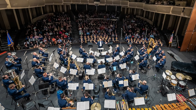 The U.S. Air Force Concert Band performed at the Kearney High School Concert Hall in Kearney, Nebraska, on Monday, March 11, 2019. The concert was part of the ensemble's four-state community relations tour. (U.S. Air Force photo by Master Sgt. Brandon Chaney)