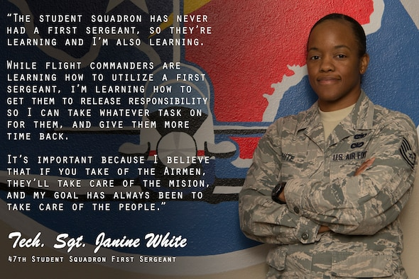 """Taking care of people so they can take care of the mission,"" is one way to summarize an important role for the Air Force's noncommissioned officers, Tech. Sgt. Janine White, 47th Student Squadron first sergeant and 47th Operations Support Squadron radar and weather systems NCO in-charge, describes how she does this in her dual roles in this edition of the Airman's Spotlight. (U.S. Air Force graphic by Senior Airman Daniel Hambor)"