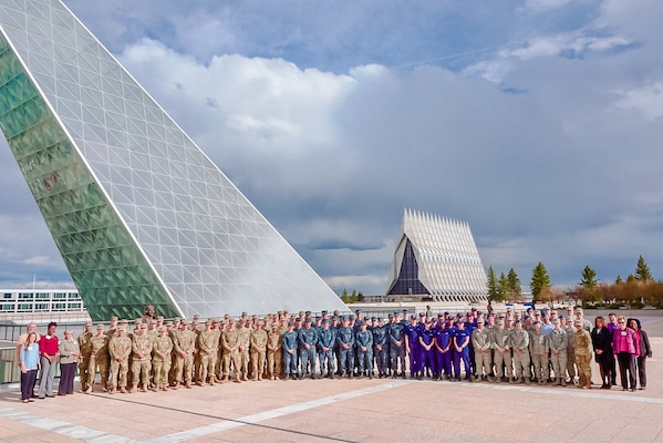 Cadets and midshipmen group photo at  the U.S. Air Force Academy.