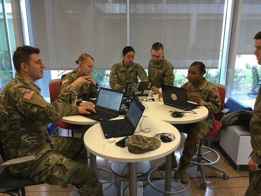 U.S. Military Academy Cadets competing in the data analysis challenge at NSA's NCX 2019.
