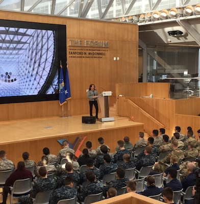 NSA's Deputy National Manager for National Security Systems Marianne Bailey addresses cadets and midshipmen during the cyber combat exercise at NSA's NCX 2019.