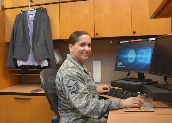 U.S. Air Force Master Sgt. Angela Santos, superintendent, Education and Technology Branch, Air Force Cryptologic Office, Twenty-Fifth Air Force, began an internship in April through the Air Force Career Skills Program, or CSP. The program prepares Airmen through vocational and technical training for a specific career or trade when transitioning from military to civilian employment. (U.S. Air Force photo by Lori Bultman)
