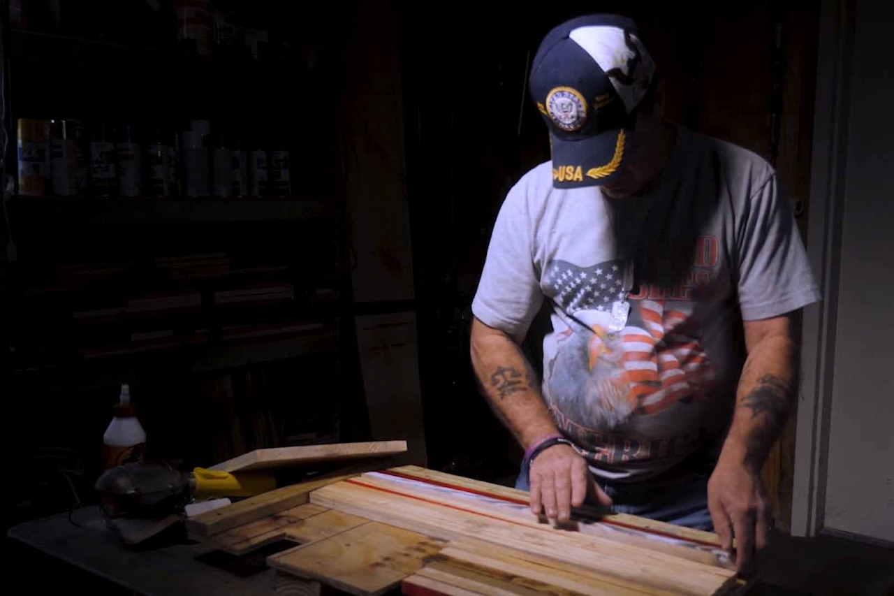 Tommy Donovan working in his wood shop