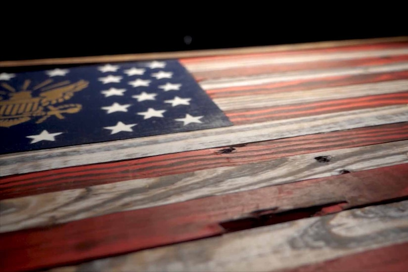 A wooden American Flag