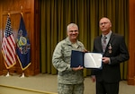 David Kauffman, the civilian advisor to the uniformed command inspector general, was awarded the new Pennsylvania Meritorious Service Medal April 15, 2019, by the adjutant general, Maj. Gen. Anthony Carrelli. Kauffman won the Department of the Army Inspector General (DAIG) of the year competition for 2018.