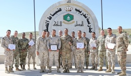 Participants and instructors pose for a photo after the completion of a United States Army and Jordan Armed Forces noncommissioned officer subject matter expert exchange in Amman, Jordan, April 6-10, 2019. Topics included the enlisted force structure, promotions, professional military education, performance feedback, evaluation processes, and career development for both armies. The U.S. and Jordan remain committed to a strong bilateral relationship built on common interests and mutual respect.