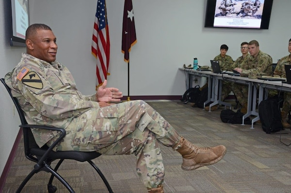 Maj. Gen. Patrick D. Sargent, commander, U.S. Army Medical Department, Health Center of Excellence, or AMEDDC&S HRCoE, speaks with students attending the Brigade Health Care Provider Course at the ROC Drill Facility at Joint Base San Antonio-Fort Sam Houston April 15.