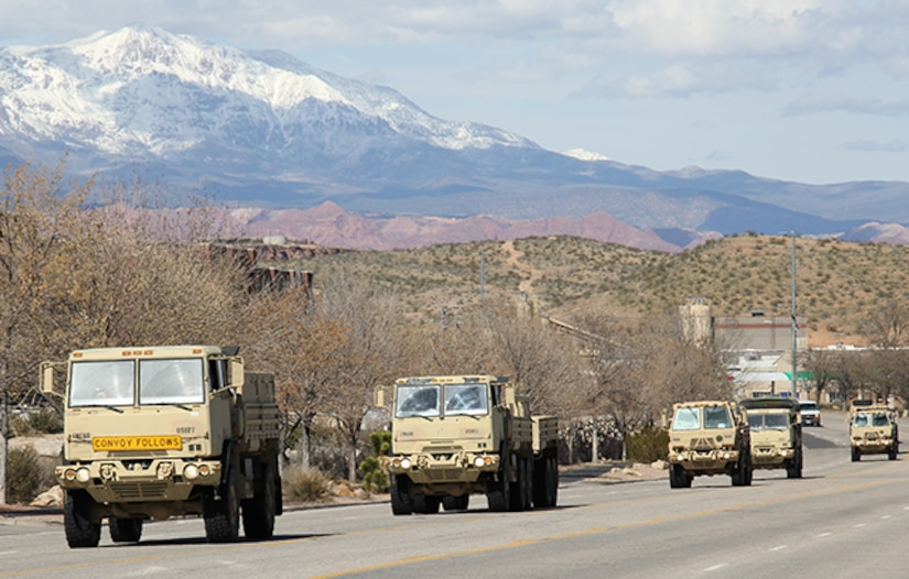 Forward Support Company, 1st Battalion, 19th Special Forces Group (Alpha), conduct convoy operations on Utah highways, March 9-10.