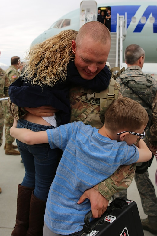 "Approximately 100 Soldiers from Echo Battery, 1st Battalion, 145th Field Artillery, ""Big Red"" return from a 10-month Middle East deployment April 9."