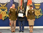 Command Sgt. Major of the Army Daniel A. Daily (left) and Command Sgt. Major Tabitha A. Gavia (right) U.S. Army Recruiting Command, recognize Sgt. 1st Class Ebony R. Thomas-Yarborough, Park North Station Commander, for her efforts leading her team of recruiters who put 51 individuals in the Army Between January and March 2019.