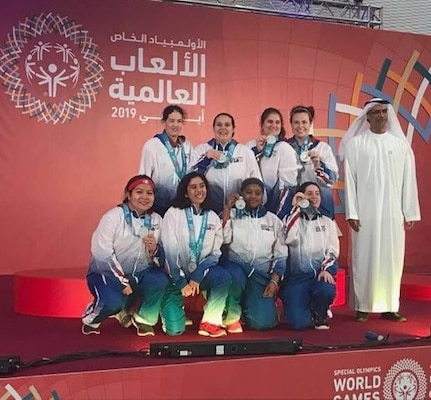 Joint Base San Antonio-Fort Sam Houston Army & Air Force Exchange Service associate Jamie Holt (back row, far left) won a silver medal at the Special Olympics 2019 World Games in Abu Dhabi as a member of the U.S. women's basketball team.