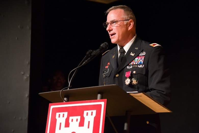 Col. John Hurley, Huntsville Center's outgoing commander, speaks during the Center's change-of-command ceremony April 18, 2019, at the University of Alabama in Huntsville's Chan Auditorium in Huntsville, Alabama.