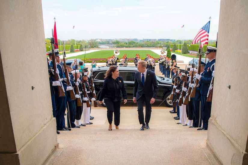 Acting Defense Secretary Patrick M. Shanahan walks up steps with the Albanian defense minister; service members stand on either side.