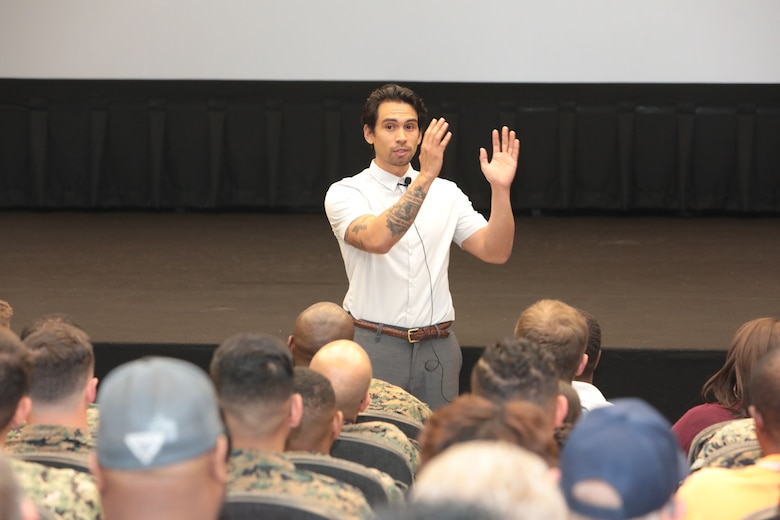 It was a packed house as hundreds of active-duty, civilian-Marines and other base personnel crammed into the Base Theater aboard Marine Corps Logistics Base Albany for the first-ever improv show on sexual assault, April 16. (U.S. Marine Corps photo by Re-Essa Buckels)