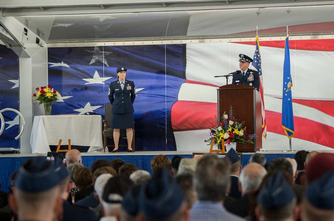 "U.S. Air Force Chief of Staff Gen. David L. Goldfein addresses the family of retired U.S. Air Force Lt. Col. Richard ""Dick"" E. Cole during a memorial service at Joint Base San Antonio-Randolph, Texas April 18, 2019."