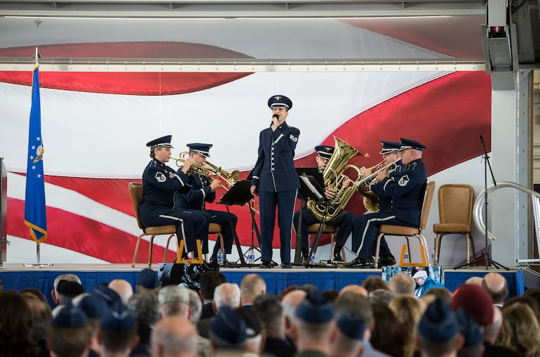 "U.S. Air Force Staff Sgt. Michelle Doolittle, a descendant of Gen. Jimmy Doolittle, sings ""America the Beautiful"" during a memorial service celebrating the life of retired U.S. Air Force Lt. Col. Richard ""Dick"" E. Cole at Joint Base San Antonio-Randolph, Texas April 18, 2019."
