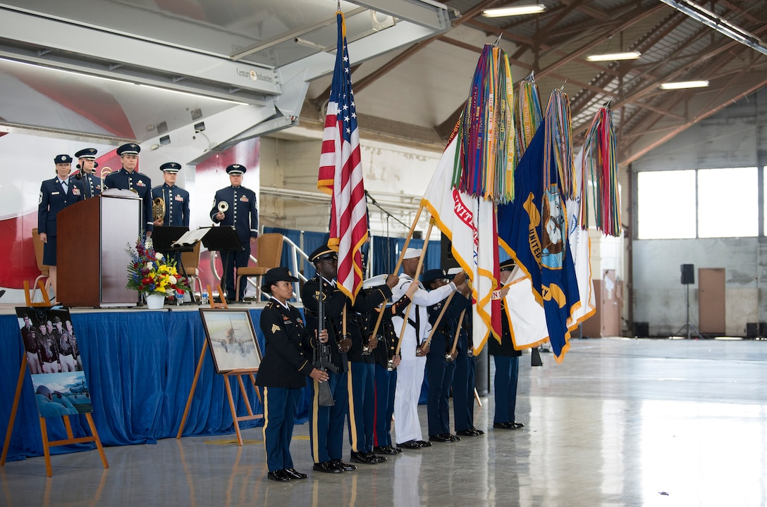 """A joint service color guard prepare to present the colors during a memorial service for retired U.S. Air Force Lt. Col. Richard """"Dick"""" E. Cole at Joint Base San Antonio-Randolph, Texas, April 18, 2019."""