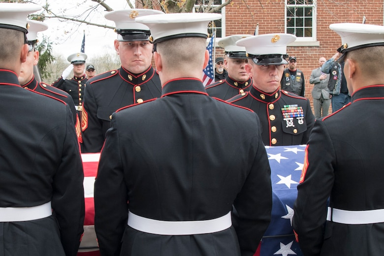 Marines from Detachment 1, Communications Company, Combat Logistics Regiment 45, 4th Marine Logistics Group, carry the casket of Pvt. Fred Freet April 18, 2019 at the Marion Indiana National Cemetery. During the ceremony, Grissom Marines conducted a 21-gun salute in addition to a flag folding ceremony that was presented to the family. (U.S. Air Force Photo/Master Sgt. Ben Mota)