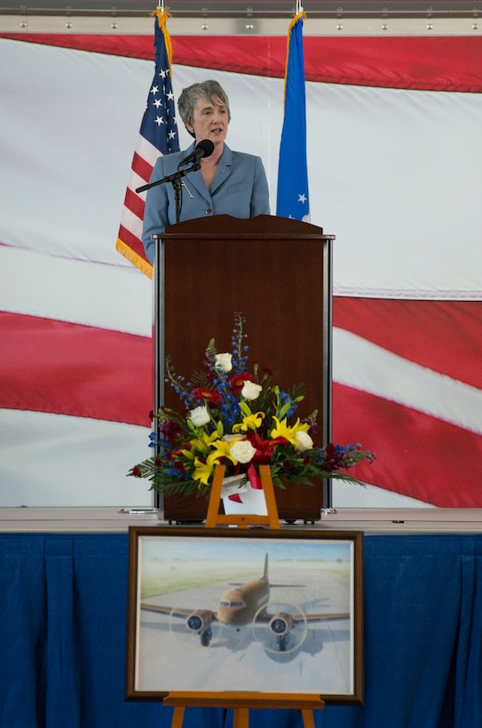 "Secretary of the Air Force Heather Wilson speaks to attendees at the memorial service to celebrate the life of retired U.S. Air Force Lt. Col. Richard ""Dick"" E. Cole at Joint Base San Antonio-Randolph, Texas, April 18, 2019."