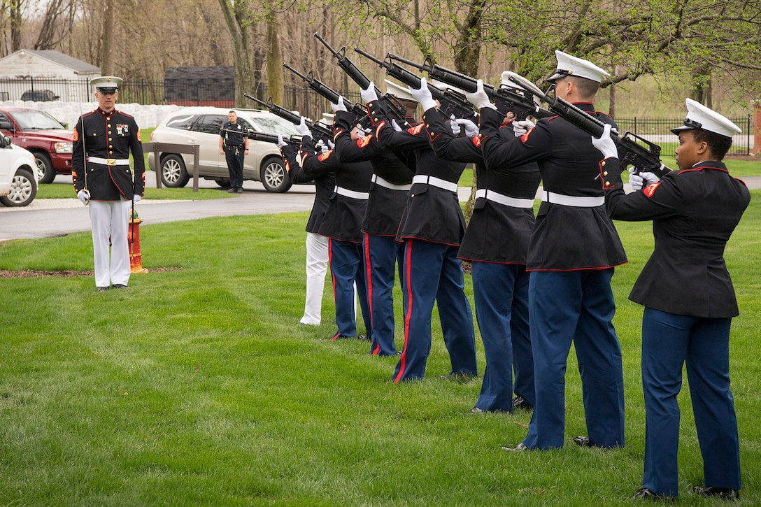 Marines from Detachment 1, Communications Company, Combat Logistics Regiment 45, 4th Marine Logistics Group, perform a 21-gun salute during a funeral for Pvt. Fred Freet April 18, 2019 at the Marion Indiana National Cemetery. Freet was posthumously issued the Purple Heart for wounds received in action resulting in his death, the Combat Action Ribbon for service during World War II and The Presidential unit citation amongst others. (U.S. Air Force Photo/Master Sgt. Ben Mota)