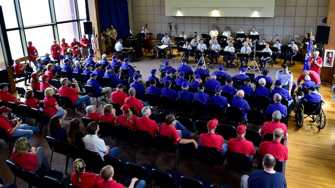 Members of the U.S. Air Force Concert Band perform for an audience of military veterans during the DFW Honor Flight concert, at Joint Base Anacostia-Bolling, April 13, 2019. The concert honored military veterans from WWII, Vietnam and Korean War by playing music from the era. (U.S. Air Force photo by Staff Sgt. Cary Smith)