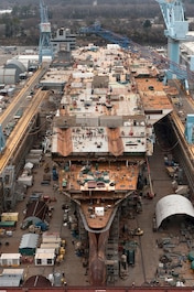 The aircraft carrier Gerald R. Ford (CVN 78) under construction at Newport News Shipbuilding on 2/5/2013.  The Ford is the first in a class of new nuclear-powered carrier being built at Newport News for the U. S. Navy.  Photo by John Whalen, Newport News Shipbuilding