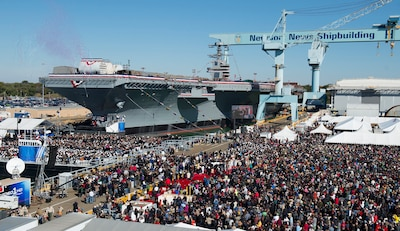 The christening ceremony for the aircraft carrier Gerald R Ford (CVN 78) at Newport News Shipbuilding 11/9/2013.  The Ford is the first ship in a new class of aircraft carriers being built by Newport News Shipbuilding for the U. S. Navy. Photo by Ricky Thompson, Newport News Shipbuilding