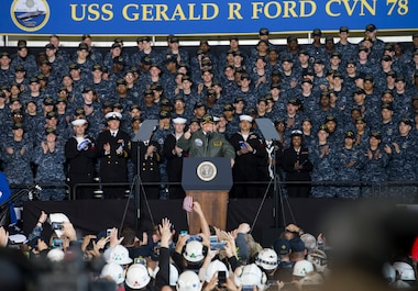 NEWPORT NEWS, Va. (March 2, 2017) – President Donald J. Trump speaks with Sailors in the hangar bay aboard Pre-Commissioning Unit Gerald R. Ford (CVN 78). Trump visited March 2 to meet with Sailors and shipbuilders of the Navy's first-in-class aircraft carrier during an all-hands call inside the ship's hangar bay. (U.S. Navy photo by Mass Communication Specialist Seaman Connor Loessin)