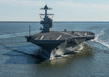 170408-N-WZ792-207  NEWPORT NEWS, Va. (April 8, 2017) The future USS Gerald R. Ford (CVN 78) underway on its own power for the first time. The first-of-class ship -- the first new U.S. aircraft carrier design in 40 years -- will spend several days conducting builder's sea trials, a comprehensive test of many of the ship's key systems and technologies. (U.S. Navy photo by Mass Communication Specialist 2nd Class Ridge Leoni/Released)