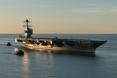 NORFOLK (April 14, 2017) The aircraft carrier Pre-Commissioning Unit (PCU) Gerald R. Ford (CVN 78) pulls into Naval Station Norfolk for the first time. The first-of-class ship - the first new U.S. aircraft carrier design in 40 years - spent several days conducting builder's sea trails, a comprehensive test of many of the ship's key systems and technologies. (U.S. Navy photo by Matt Hildreth courtesy of Huntington Ingalls Industries/Released)