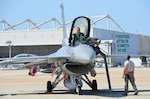 Maj. Ryan Stott, a pilot with the 114th Fighter Wing, exits an F-16C Fighting Falcon during Lobo Plummet at Marine Corps Air Station Miramar, California, March 2019. Lobo Plummet is a deployment for training that enables the 114th Fighter Wing to conduct force integration with fourth and fifth generation fighter aircraft.