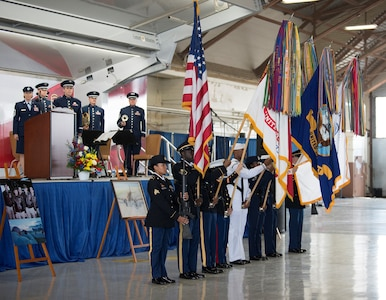 "A joint service color guard prepare to present the colors during a memorial service for retired U.S. Air Force Lt. Col. Richard ""Dick"" E. Cole at Joint Base San Antonio-Randolph April 18. Cole, the last surviving Doolittle Raider, was among 80 Airmen who took part in the storied World War II Doolittle Tokyo Raid and was a founding Airman of the USAF Special Operations community."