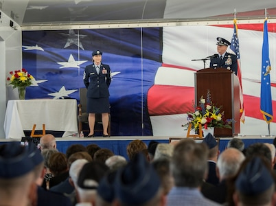 """U.S. Air Force Chief of Staff Gen. David L. Goldfein addresses the family of retired U.S. Air Force Lt. Col. Richard """"Dick"""" E. Cole during a memorial service at Joint Base San Antonio-Randolph April 18. Cole was the last surviving Doolittle Raider who took part in the storied World War II raid on Tokyo and was a founding Airman of the USAF Special Operations community."""