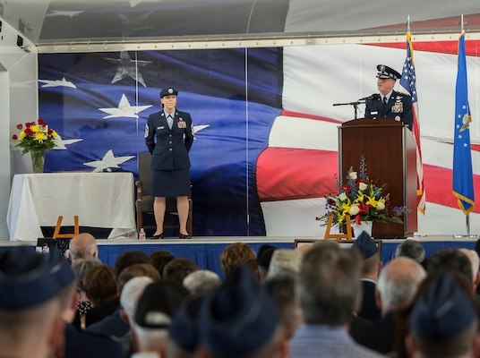 "U.S. Air Force Chief of Staff Gen. David L. Goldfein addresses the family of retired U.S. Air Force Lt. Col. Richard ""Dick"" E. Cole during a memorial service at Joint Base San Antonio-Randolph April 18. Cole was the last surviving Doolittle Raider who took part in the storied World War II raid on Tokyo and was a founding Airman of the USAF Special Operations community."