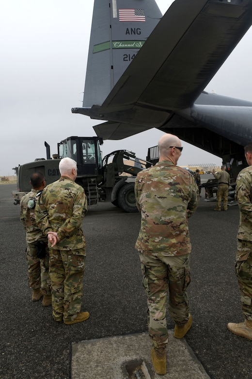 U.S. Air Force Lt. Gen. L. Scott Rice, Air National Guard director, visited service members and spoke with senior leaders throughout U.S. Air Forces Central Command posts, along with Chief Master Sgt. Ron Anderson, ANG command chief and Chief MSgt. Lorene Kitzmiller, ANG first sergeant functional, April 2019, in efforts to gauge how ANG priorities are manifesting at the tactical edge.