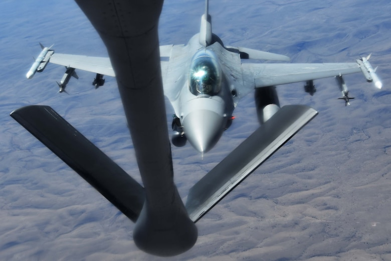 An F-16 Fighting Falcon from the 54th Fighter Squadron out of Holloman Air Force Base, N.M., approaches the boom of a KC-135 Stratotanker from McConnell AFB, Kan.,  April 9, 2019.  During the flight, the KC-135 crew refueled five total F-16s and made 12 contacts.