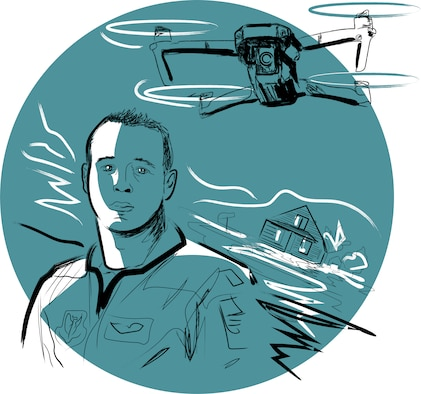 Maj. Steven Bogert, 45th Reconnaissance Squadron, helped more than 500 flood victims see their property using drone footage. (U.S. Air Force graphic by Josh Plueger)