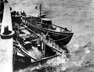 83-foot Coast Guard cutter USCG 1 off Omaha Beach on the morning of D-Day.