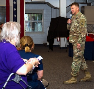 Lt. Gen. Jeffrey Buchanan, U.S. Army North (Fifth Army) commanding general, speaks to the audience at the annual Volunteer of the Year Awards Ceremony April 17 at the JBSA-Fort Sam Houston Military & Family Readiness Center.