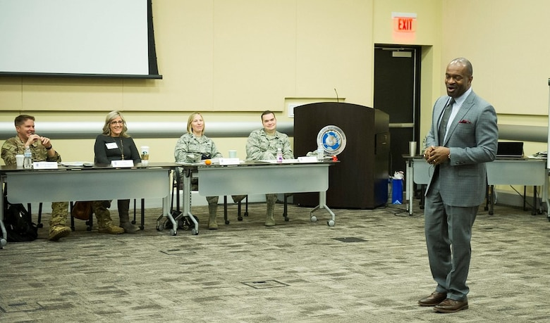 DeMaurice F. Smith, NFL Players Association executive director, answers questions during the 2019 AFDW Squadron Commanders Course at Joint Base Andrews, Md., April 17, 2019. (U.S. Air Force photo by Master Sgt. Michael B. Keller)