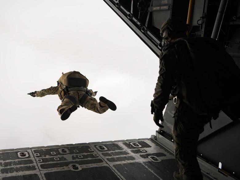 U.S. Air Force Brig. General Claude K. Tudor Jr., commander of the 24th Special Operations Wing, relinquishes command on the back of an MC-130H Combat Talon II, Hurlburt Field, Florida, April 19, 2019.