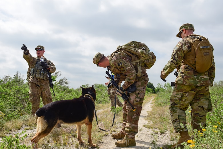 Military working dog handlers with the 47th Security Forces Squadron, regroup after an engagement with simulated opposing forces during an exercise at Laughlin Air Force Base, Texas, April 17, 2019. The 47th SFS changed up the tempo with an exercise that challenged their tactics, teamwork and physical fitness as they were put head to head with a simulated opposing force. (U.S. Air Force photo by Senior Airman Benjamin N. Valmoja)