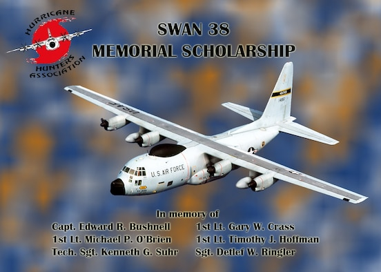 """Swan 38 Memorial Scholarship, named after the 54th WRS crew with the call sign """"Swan 38"""", who disappeared without a trace over the Western Pacific on 12 October 1974, this scholarship is a memorial in their honor, to remind everyone and their families that they are not forgotten. (U.S. Air Force graphic by Jessica L. Kendziorek)"""