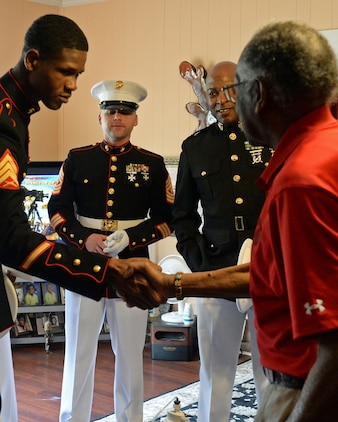 When Marine Corps Logistics Base Albany leaders noticed that Henry Jackson, a local Montford Point Marine, hadn't been attending any events or making his routine visits, they became concerned and decided to pay him a visit, April 17.