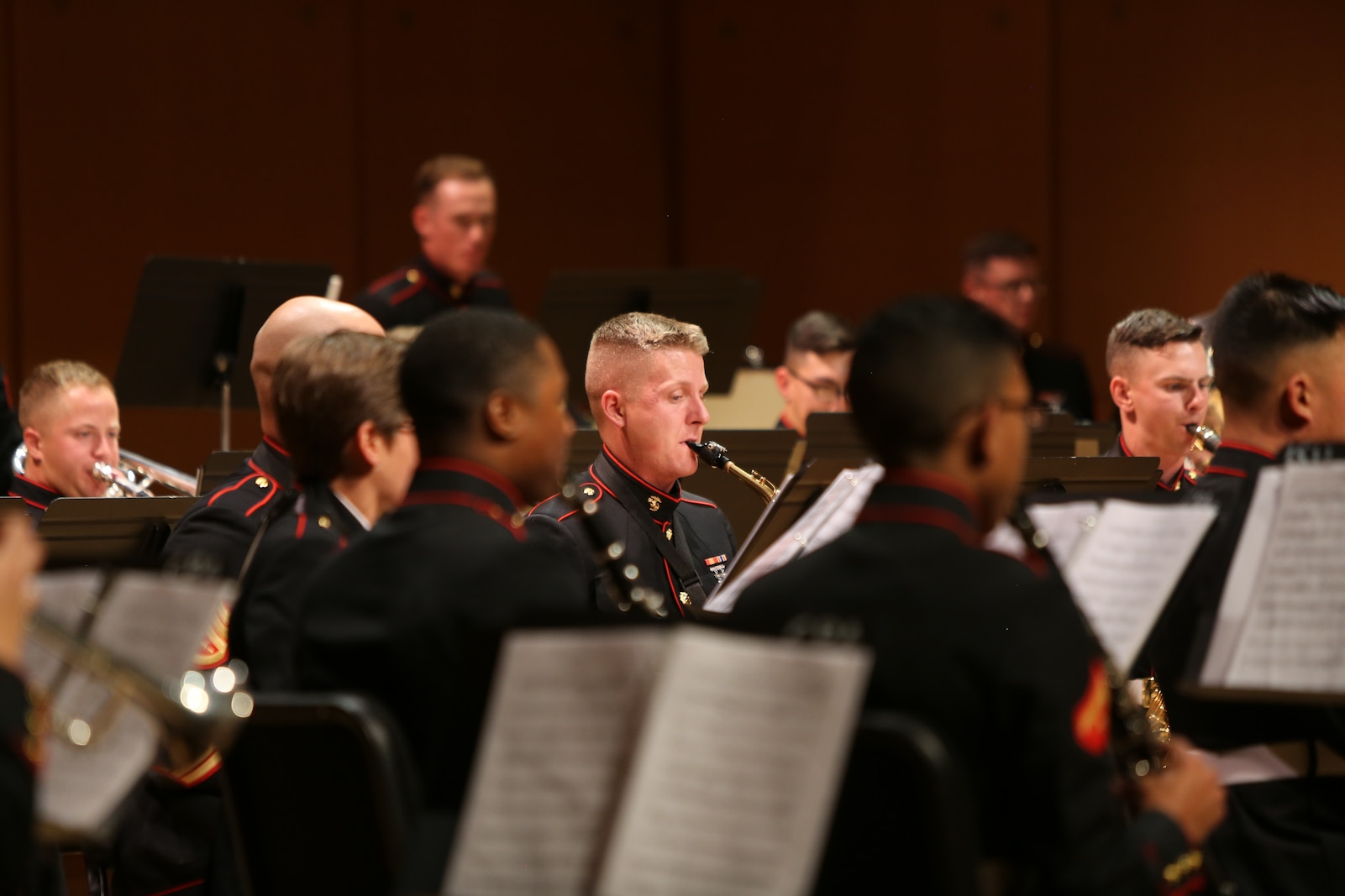 Corporal Trent Larson, a musician with Marine Band San Diego, performs at Huntington North High School during a tour of the Midwest. The band is consists of 50 Marines, with each musician playing in multiple other ensembles. The band performs every Friday at Marine Corps Recruit Depot San Diego, California when they are not on tour. (Official U.S. Marine Corps photo by Sgt Calvin Hilt)