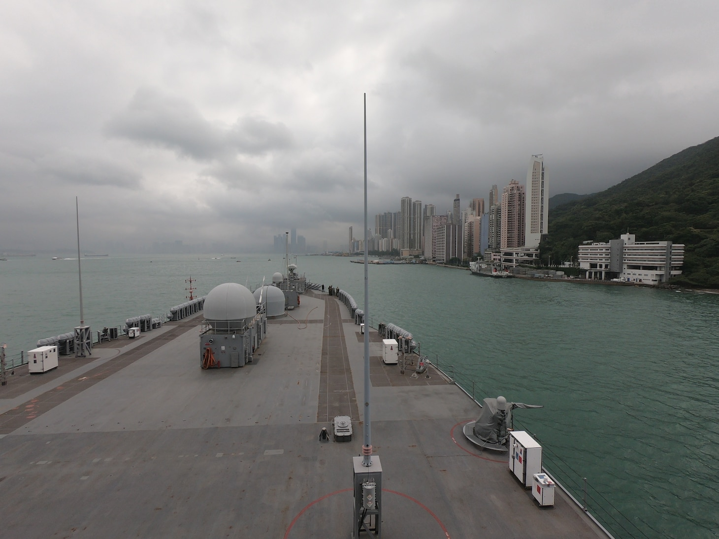 U.S. 7th Fleet Flagship USS Blue Ridge (LCC 19) arrives for a port visit in Hong Kong. Blue Ridge is the oldest operational ship in the Navy and, as U.S. 7th Fleet command ship, is operating in support of security and stability in the Indo-Pacific Region.
