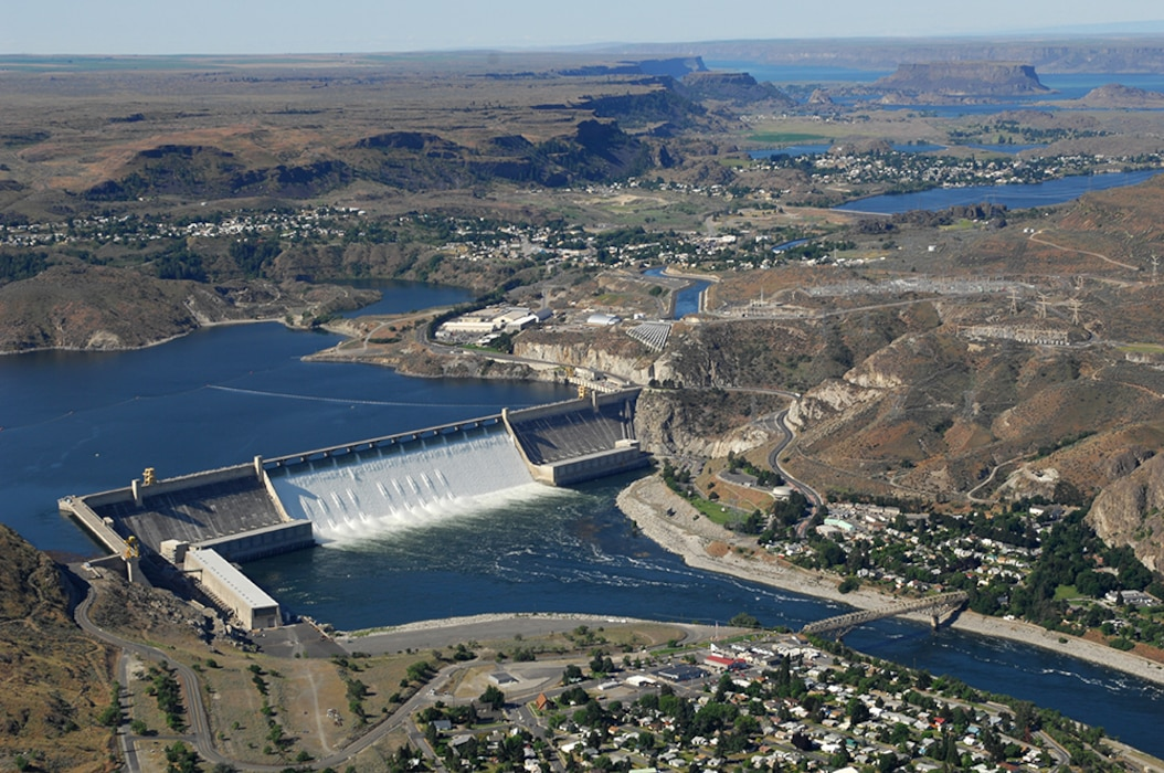 Grand Coulee Dam includes three major hydroelectric power generating plants (named Third, Left, and Right) and the John W. Keys III Pump-Generating Plant. The facilities provide power generation, irrigation, flood risk management, and streamflow regulation for fish migration. Additional incidental benefits include providing flows for navigation and recreation. Grand Coulee Dam is the main feature of the Columbia Basin Project.