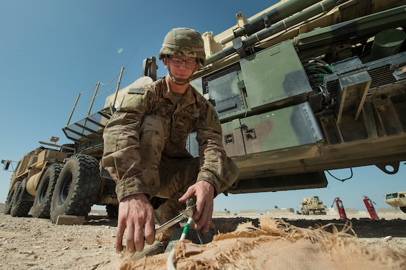 U.S. Army Pvt. Bridger Clifford, Charlie Company, 1st Battalion, 43rd Air Defense Artillery (ADA) Battalion, 11th ADA Brigade patriot missile maintainer and operator, performs patriot missile readiness drills at Al Udeid Air Base, Qatar, April 16, 2019. Soldiers of the 1-43rd ADA Battalion provide the installation with an air defense capability, protecting personnel, assets and operations here from potential air threats. (U.S. Air Force photo by Tech. Sgt. Christopher Hubenthal)