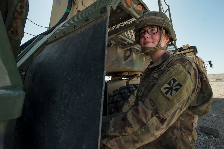 U.S. Army Pfc. Abbigail Carey, Charlie Company, 1st Battalion, 43rd Air Defense Artillery (ADA) Battalion, 11th ADA Brigade patriot missile maintainer and operator, performs patriot missile readiness drills at Al Udeid Air Base, Qatar, April 16, 2019. Soldiers of the 1-43rd ADA Battalion provide the installation with an air defense capability, protecting personnel, assets and operations here from potential air threats. (U.S. Air Force photo by Tech. Sgt. Christopher Hubenthal)