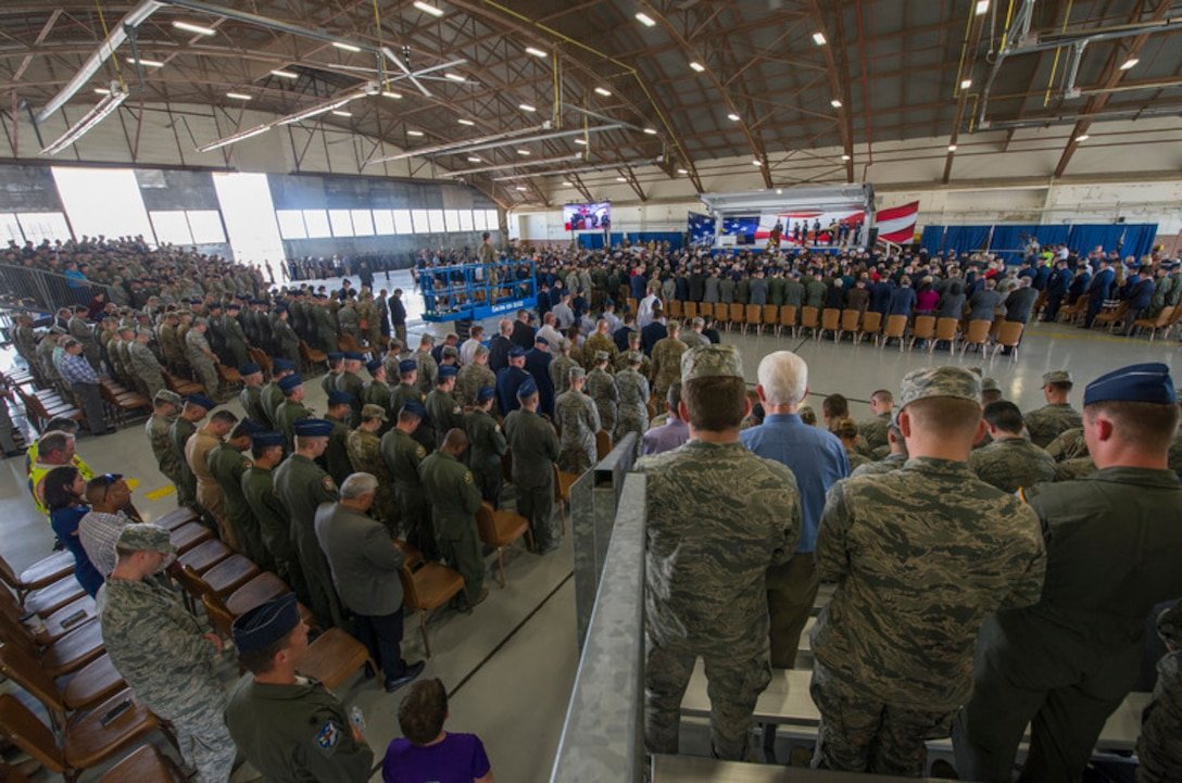 "Attendees look on during (describe speaker) during a memorial service for retired U.S. Air Force Lt. Col. Richard ""Dick"" E. Cole at Joint Base San Antonio-Randolph, Texas, April 18, 2019. Cole, the last surviving Doolittle Raider, was the co-pilot on a B-25 Mitchell for then-Col. Jimmy Doolittle during the storied World War II Doolittle Tokyo Raid and was a founding Airman of the USAF Special Operations community."